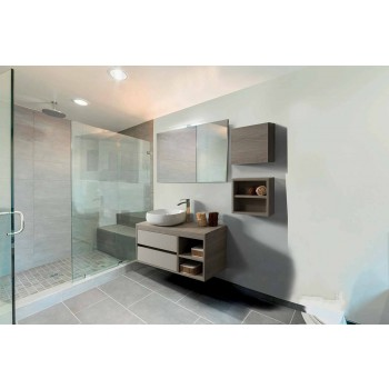 Bathroom Furniture Suspended in Oak Gray Melamine - Becky