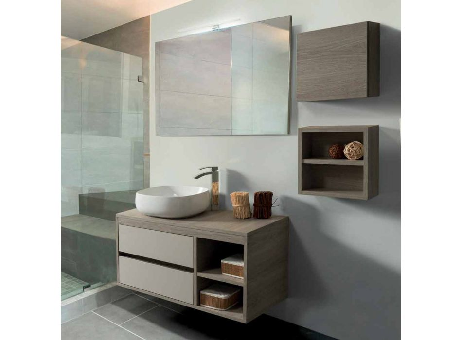 Bathroom Furniture Suspended in Oak Gray Melamine - Becky