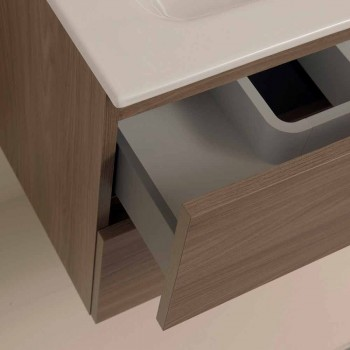 Suspended Design Bathroom Furniture in Melamine Walnut - Becky