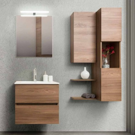 Bathroom Cabinet 60 cm, Mirror, Wash Basin and Column – Becky