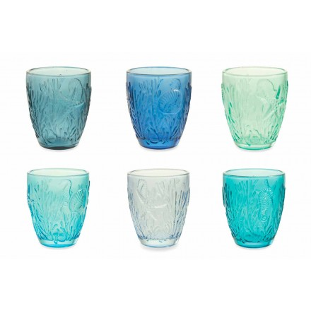 Modern Blue Colored Glasses 6 Pieces Water Service - Mazara