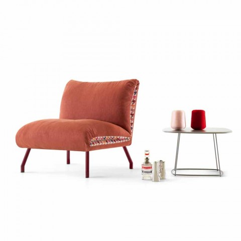 My Home Lips design armchair in two-colored fabric made in Italy