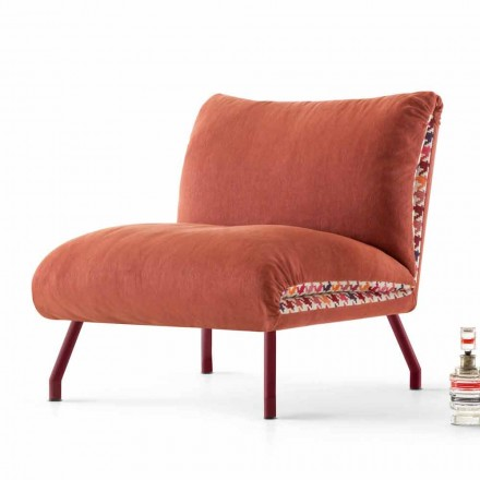 Armchair Lips with two-coloured upholstery, made in Italy by My Home