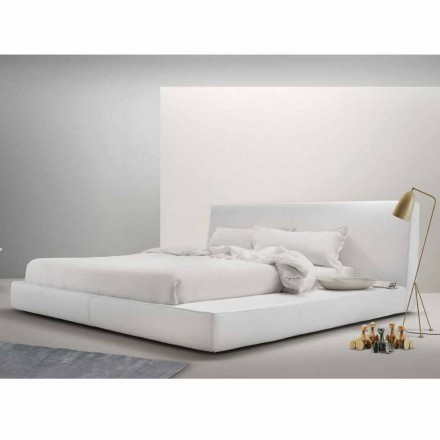 Modern design leather bed Long Island by My Home, made in Italy