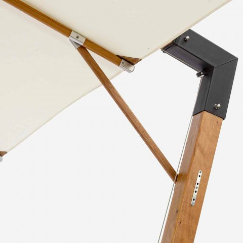 Ecrù Color Outdoor Umbrella in Polyester and Wood 3x4 Homemotion - Passmore