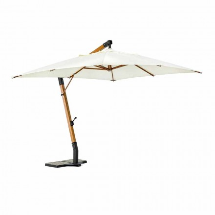Ecrù Outdoor Umbrella in Polyester and Wood 3x3, Homemotion - Passmore