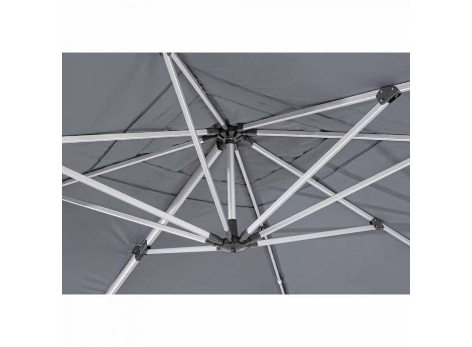 4x4 Garden Umbrella with Dark Gray Cloth and Anodized Structure - Daniel