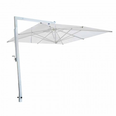 Garden Umbrella in White Aluminum and Fabric Made in Italy - Mervin