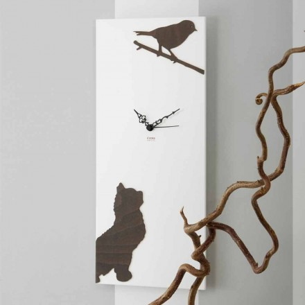 White Wall Clock with Wooden Animal Decorations Modern Design - Suspense