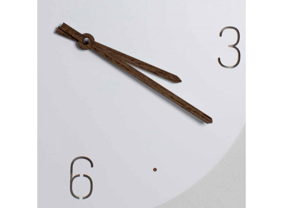 Classic Design Wall Clock in White Round Wood Laser Cut - Jovial