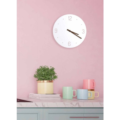Classic Design Wall Clock in White Round Laser Cut Wood - Jovial
