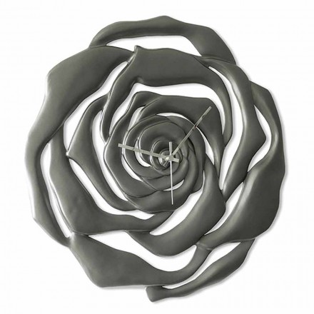 Wall Clock Modern Floral Design in Anthracite or Ivory - Rosilda Ceramic