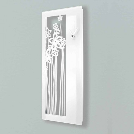 Modern Rectangular Design Wall Clock in White Plexiglass - Elara