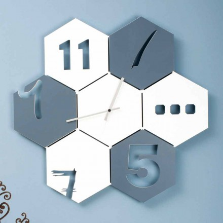Large Wall Clock in Colored Wood Hexagonal Modern Design - Nidodape