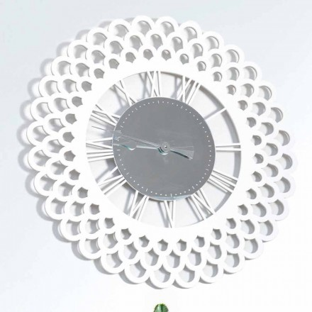 White Wood Wall Clock Large and Modern Floral Design - Gerbera
