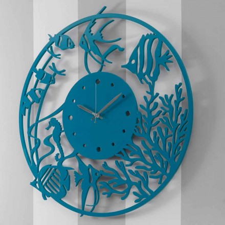Large Modern Colored Round Wooden Wall Clock - Infondoalmar