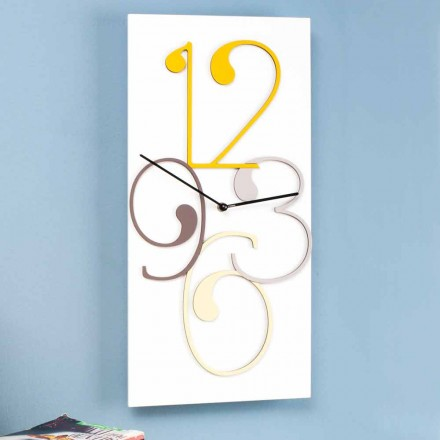 Wall Clock Colored and White Wood Rectangular Modern Design - Mathematics