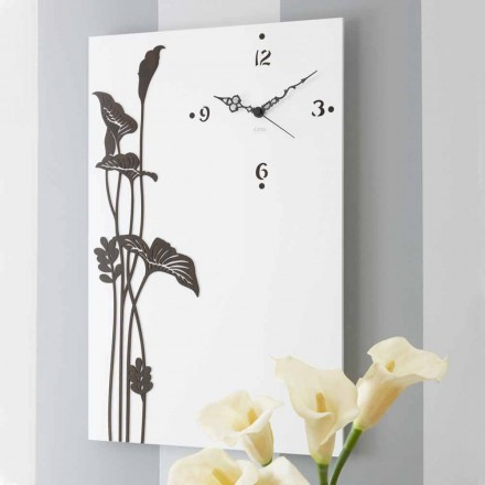Modern Rectangular Wall Clock in White Decorated Design Wood - Croco