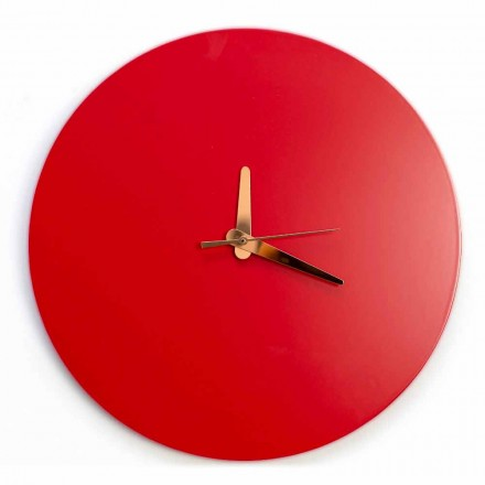 Round and Modern Italian Design Red Wall Clock in Wood - Callisto