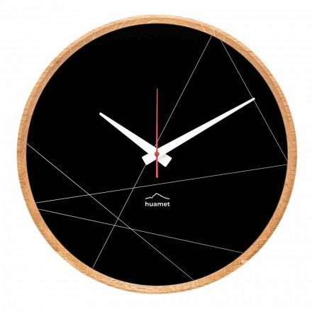 Round Wall Clock Oak Wood and Black Aluminum Made in Italy - Pirello