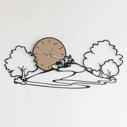 Wall Clock with Landscape in Black Iron or Mud Made in Italy - Paesello