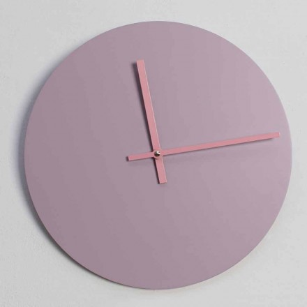 Round Pink Wooden Wall Clock Made in Italy Design - Imalia