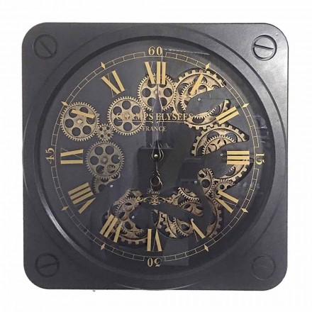 Vintage Design Wall Clock in Steel Square Shape Homemotion - Curzio