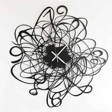 Modern Design Wall Clock in Black Iron or White Made in Italy - Baldo