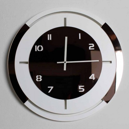 Wall Clock in White Wood and Bronze Decorations of Modern Design - Mavia