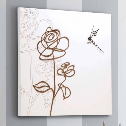 White Square Wooden Wall Clock with Modern Rose Decoration - Snowdrop