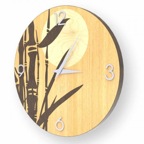Atina wall clock in decorated wood, design made in Italy