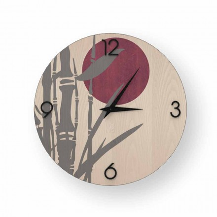 Atina design wall clock in decorated wood, produced in Italy