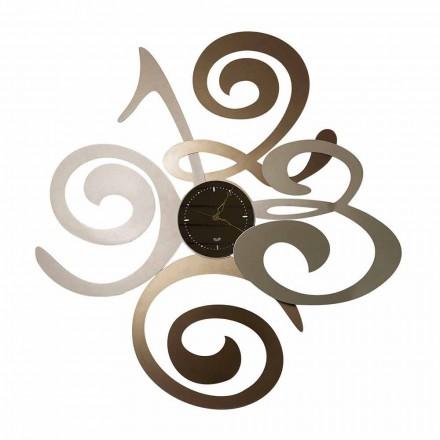 Modern Design Wall Mirror Clock in Iron Made Italy - Cornflower