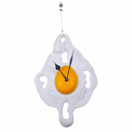 Egg Design Wall Clock in Hand Painted Resin Made in Italy - Eggo