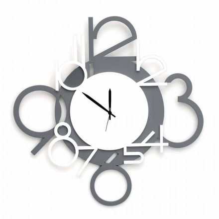 Large and Modern Design Wall Clock in White and Gray Wood - Digit