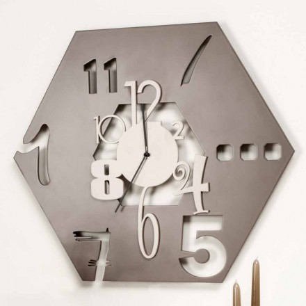 Large Modern Hexagonal Design Wooden Wall Clock - Polyhedron