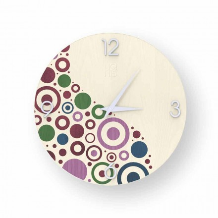 Modern design wall clock made of wood Curno, produced in Italy