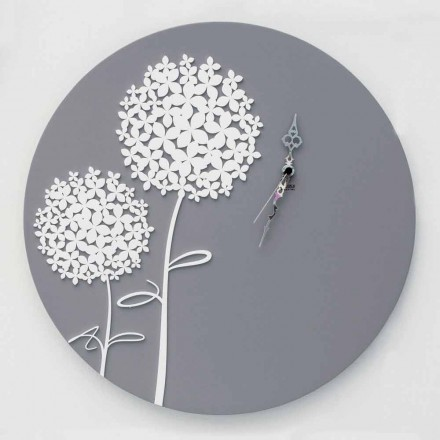 Modern Design Round Decorated Gray Wood Wall Clock - Overhead Shower