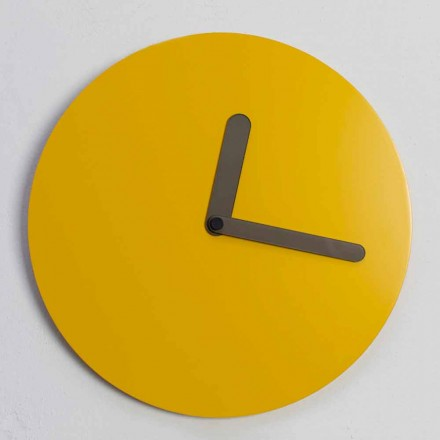 Modern Wall Clock in Ocher Wood Round Design Made in Italy - Amalthea