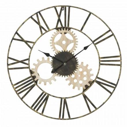 Round Wall Clock Diameter 70 cm Modern Design in Iron and MDF - Jutta