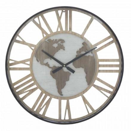 Round Wall Clock Diameter 60 cm Modern in Iron and MDF - Arnela