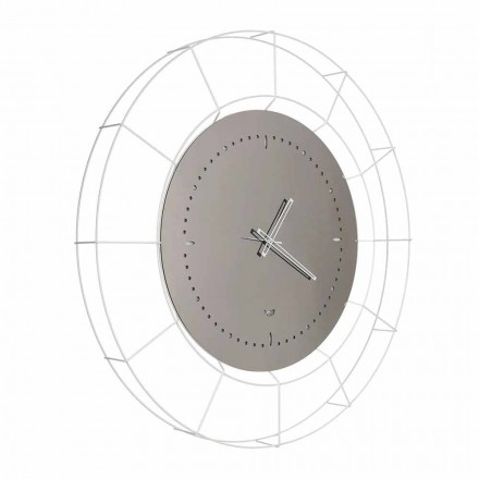 Modern Mirror Wall Clock in White Steel Made in Italy - Adalgiso
