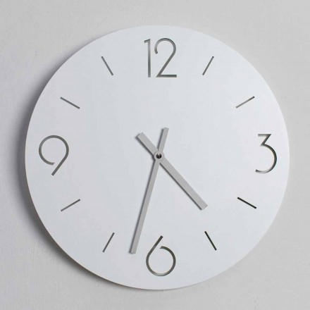 Classic Design White Wall Clock in Round Wood - Septimius