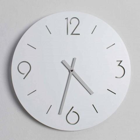 Classic Design White Wall Clock in Round Wood - Settimio