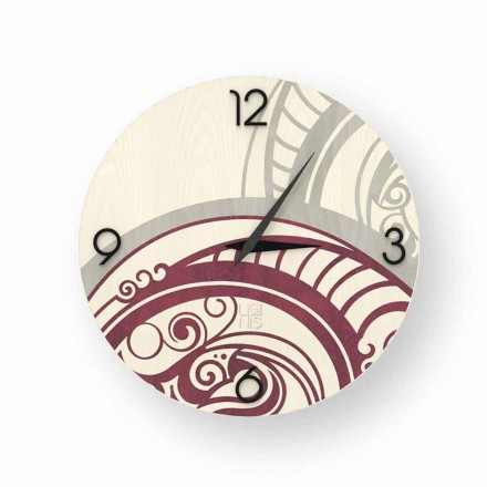 Adro abstract design wall clock made of wood, produced in Italy