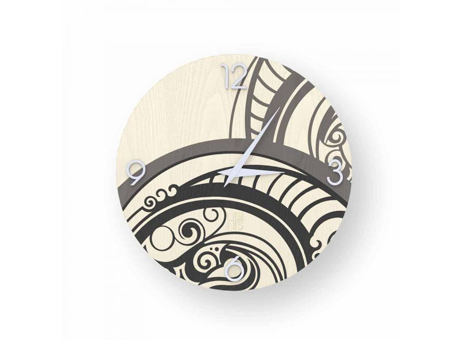 Adro abstract design wall clock made of wood, made in Italy
