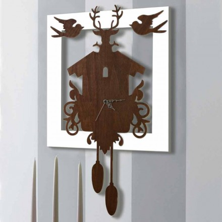 Modern Design Wall Clock in Dark and White Decorated Wood - Fairy Tale