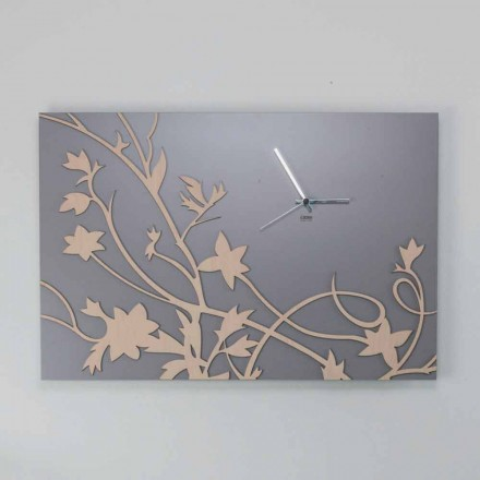 Modern Gray Rectangular Design Wall Clock in Decorated Wood - Gallium