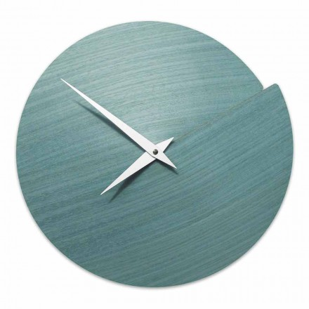 Wall Clock of Modern Design in Natural Wood Made in Italy – Cratere