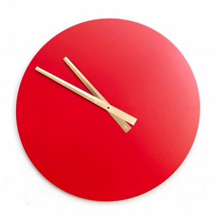 Large Wall Clock Colorful Modern Design in Round Wood - Dione